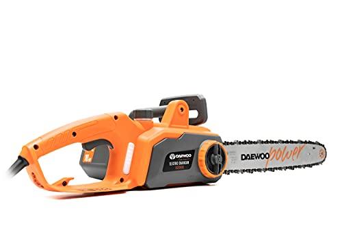 Daewoo Tronçonneuse électrique DCS1816E | 1800 W avec barre de chaîne de 405 mm de longueur | Protection anti-retour et boulon de verrouillage de chaîne