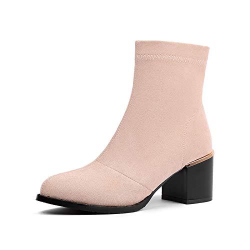 Shukun enkellaarsjes herfst en winter enkele laarzen puntige klinknagel groot formaat mat dik met Martin laarzen hoge hak vet korte laarzen damesschoenen