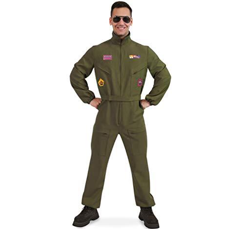 Herren Kostüm Kampfpilot Overall grün Militär Pilot Flieger-Uniform (M)