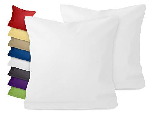 npluseins Doppelpack zum Sparpreis - Baumwoll-Kissenbezüge - Moderne Wohndekoration in schlichtem Design - 8 modernen Uni-Farben und 3 Größen, 40 x 40 cm, weiß