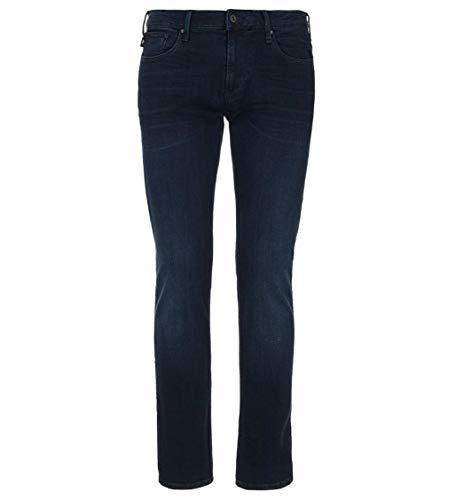 Emporio Armani Mens Dark Denim Blue Regular Fit J21 Jeans 8N1J21 (W 36 / L 32) Armani Five Pocket Jeans