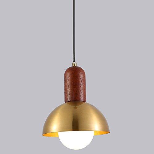 CHUANGJIE Minimalistische houten retrolamp 1 vlam antiek rond eettafel loft lamp voor hal keuken slaapkamer restaurant bar E27 Ø15 x H 18 cm