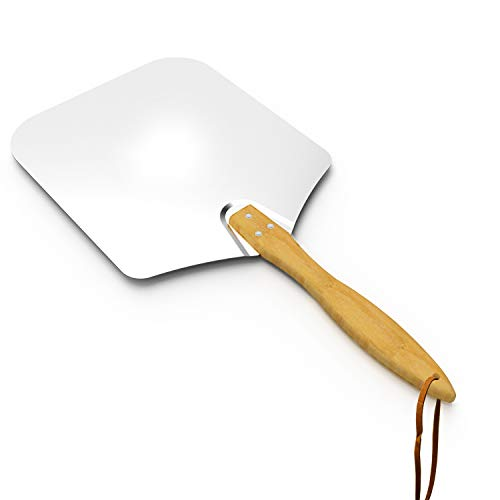 Skyflame Kitchen Supply Aluminum Pizza Peel with Wooden Handle 14-Inch x 16-Inch, Large Pizza Paddle for Baking Homemade Pizza Bread