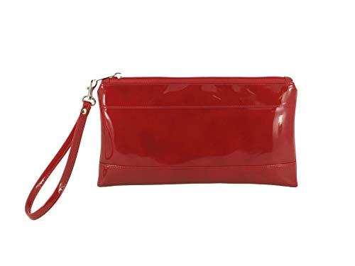 LONI Cartera de piel sintética lacada para mujer con correa para la muñeca., rojo oscuro (Rojo) - Adorable Patent-Dark Red