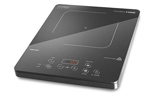 CASO COMFORT C2000 Induktionskochplatte mobil, 2000 Watt, Überhitzungsschutz, Warmhaltefunktion von 60-200°C, Timer, Töpfe bis 22cm, Glaskeramik