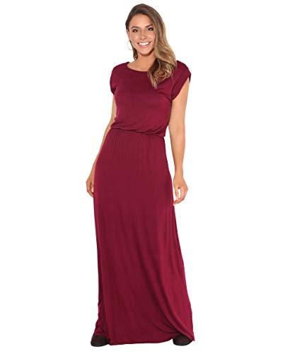 KRISP Damen Bodenlanges Einfarbiges Leichtes Kleid (Weinrot, Gr.44), 3269-WIN-16