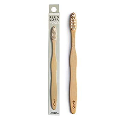 """PLUS ULTRA Adult Size Bamboo Toothbrush""""+>XO LOGO"""" with Soft, Wave-Shaped, BPA Free Nylon Bristles and Plant Based, Natural, Biodegradable Handle"""