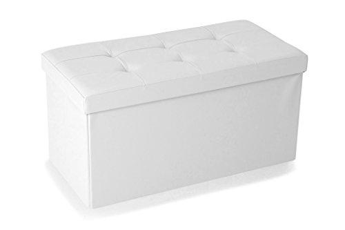 Soliving Boxy Lot de 2 Poufs Pliants PVC avec Couvercle Blanc, Polyuréthane, 76 x 38 x 38 cm