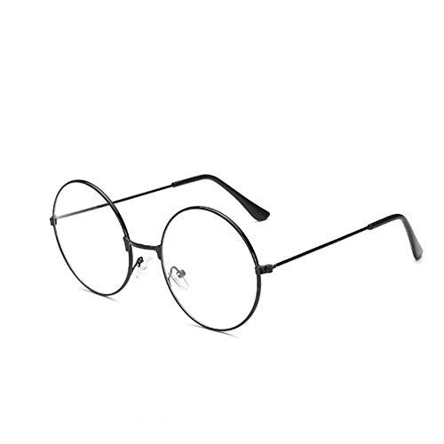 Lunettes Luoem - Mixte - De forme ronde - Style rétro - Avec verres extrêmement clairs - Pour se déguiser en Père Noël et en Harry Potter - Noir