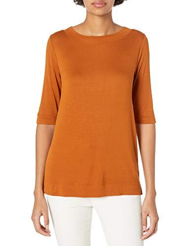 Daily Ritual Rib Knit Jersey Elbow-Sleeve Boat Neck Shirt Camisa,