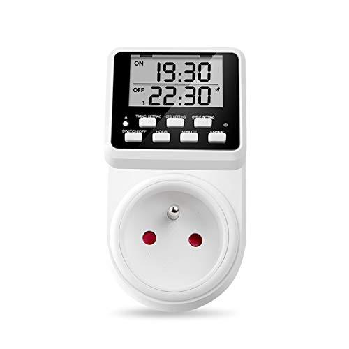 NOVKIT Prise Programmable Digitale à Cycle Alternatif et répétitif Prise Minuterie Compte à rebours Programmation économie d'électricité