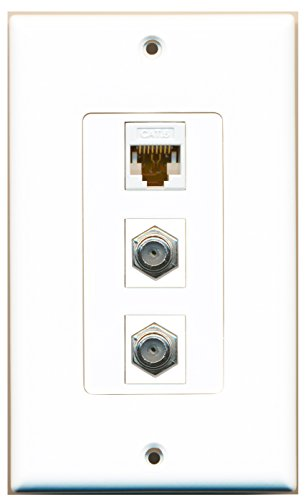 RiteAV - 2 Port Coax Cable TV- F-Type and 1 Port Cat6 Ethernet White Decorative Wall Plate