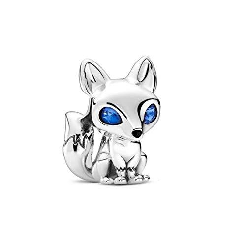 LILANG Pandora 925 Jewelry Bracelet Dibujos Animados de Plata esterlina Natural Blue Eyed Fox Charms Beads Se Adapta al Collar Original Fabricación de Moda Mujer Regalo de Bricolaje