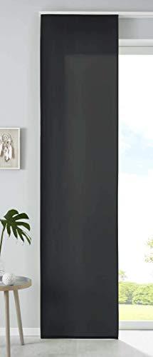 1er Set Schiebegardine Flächenvorhang Mikrofaser Vorhang Gardine Raumteiler HxB 245x60 cm Schwarz Matt Paneelwagen Beschwerungsstange, 85600N