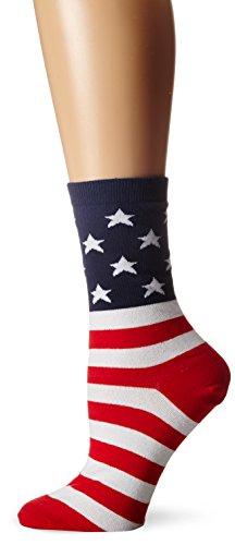 K. Bell Women's Novelty Knee High Socks, Red/White/Blue, 9-11