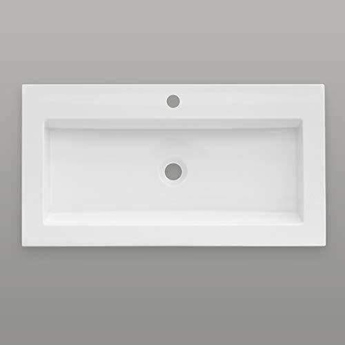 Aquabad® Purista Waschtisch/Waschbecken | Weiß 80x46x10cm eckig | Design Einbauwaschtisch für Badezimmer aus Sanitär-Acryl