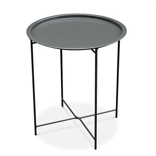 Alice's Garden Table Basse Ronde – Alexia Gris Anthracite – Table d'appoint Ronde Ø46cm, Acier thermolaqué.