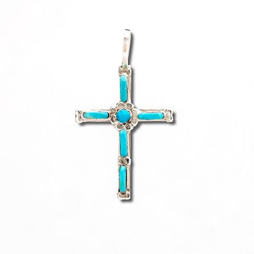 Indianerschmuck Anhänger Türkis Christen Kreuz Sterling Silber Zuni Made
