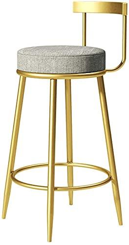 Chilequano Silla de Comedor Creativa Minimalista Cotonera de algodón y sillón de Lino Art Pub Altura Contador de Silla con Espalda, Silla de Bar Moderno Estilo taburetes, Gris Retro