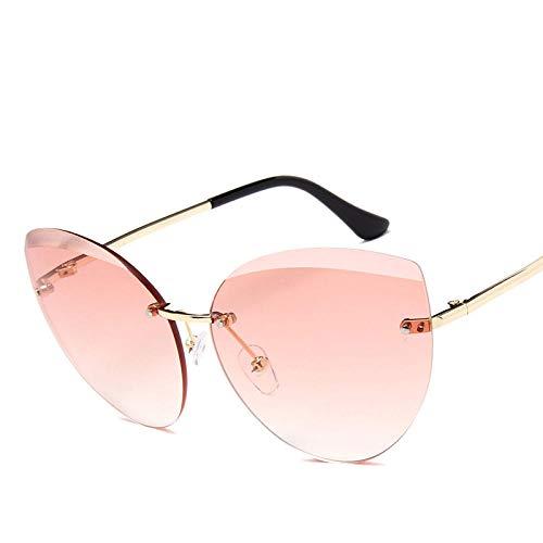 chuanglanja Gafas De Sol Mujer Gafas De Sol De Ojo De Gato Sin Montura De Metal Para Mujer Gafas De Sol Clásicas Con Lente Oceánica Gafas De Sol Para Mujer UV400-Color-M
