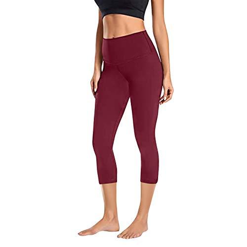 PJQQ Leggings deportivos para mujer, pantalones de yoga, pantalones de deporte, leggings de fitness, pies estrechos, pantalones para correr, pantalones elásticos con cintura alta Vino L