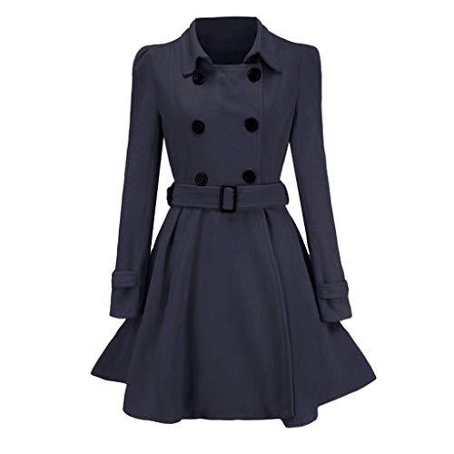 LHHH Women's Winter Coat Faux Woolen Warm-up Buttons Trench Jacket Belt Overcoat Outwear Windbreaker
