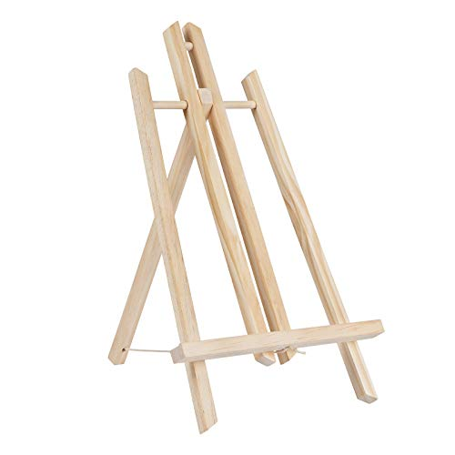 Dolicer 11.8' Wood Tabletop Display Easel 1 Pack Wooden Art Easel Stand Painting Easels Holder for Kids Students Adults Displaying Canvas Painting Photo