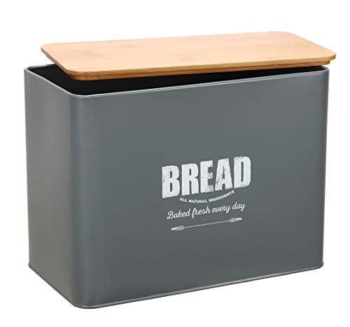 Morezi Metal Bread Bin Loaves Storage Canister Tins - Tight Seal Wood Lids - Countertop Space-Saving, Gray-Coated Carbon Steel Safty