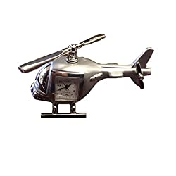 Sanis Enterprises Silver Helicopter Clock, 4 by 2-Inch