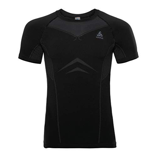 Odlo Herren SUW Crew Neck s/s Performance Light Shirt, Black/Graphite Grey, L