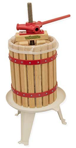 Woodside 6 Litre Fruit Press with Straining Bag, Apple Cider Grape Wine/Cider/Beer Making Tool