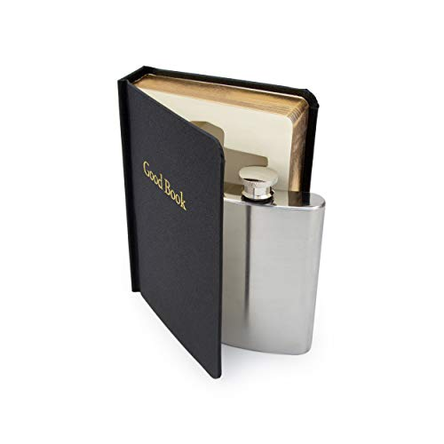 SUCK UK SK FLASKBOOK4 B Secret Hip Women & Men | Small Smuggle Your Booze | Alcohol Holy Water | 4 oz Stainless Steel Flask, Black