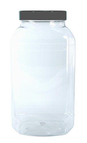 Botes de plástico vacíos grandes de 4500 ml con tapas., color Black lid