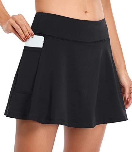Fulbelle Tennis Skirts for Women, Teen Girls Mini Golf Short Skirt Athletic Workout Running Pleated Comfy Inner Shorts Dri Fit High Waisted Hidden Pockets Skort Apparel Black Large