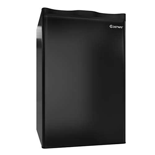 COSTWAY Compact Refrigerator, 3.2 cu ft. Mini Refrigerator Unit Small Single Door Freezer Cooler Fridge for Dorm, Office, Apartment (Black)
