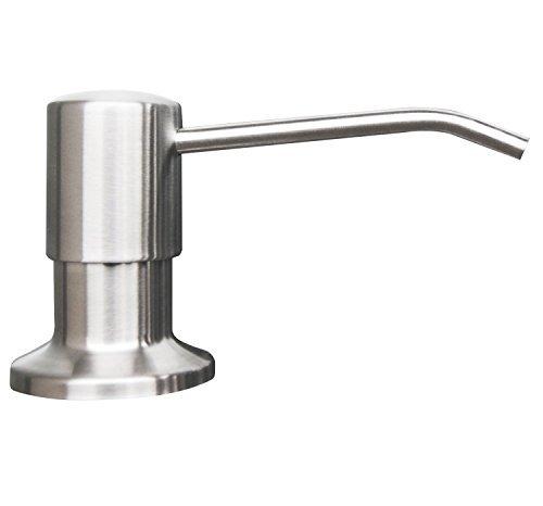 Korlon Stainless Steel Built in Pump Kitchen Sink Dish Soap Dispenser - Large Capacity 17 OZ Bottle - 3.15 Inch Threaded Tube for Thick Deck Installation