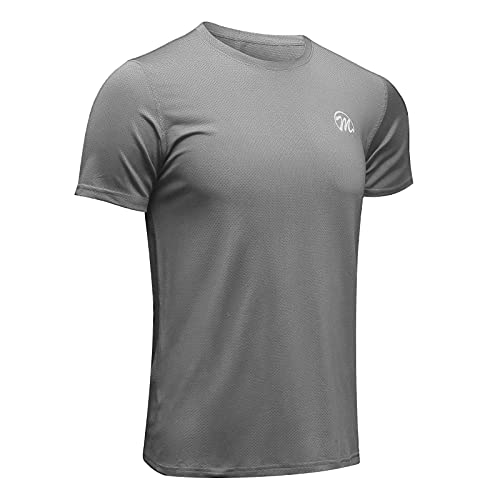 MEETWEE Camiseta deportiva para hombre, transpirable, de malla fresca y seca, con capa base, manga corta, para correr, gimnasio, color gris claro, XL