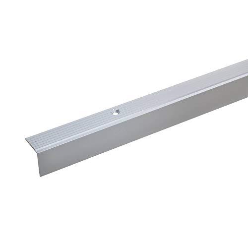 acerto 35400 Aluminium Treppenwinkel-Profil - 100cm, 20x20mm * Rutschhemmend * Robust * Leichte Montage | Treppenkanten-Profil, Treppenstufen-Profil aus Alu * Treppenkantenschutz (silber)