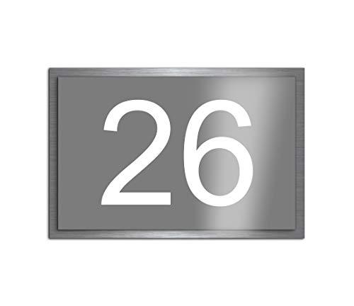 Premium Designer Hausnummer mit UV Druck und Montage Set - 30x20 cm - Familien-Haus Bedruckte Hausnummern mit Straßen Straßennamen für die Haustür Ferienhaus…