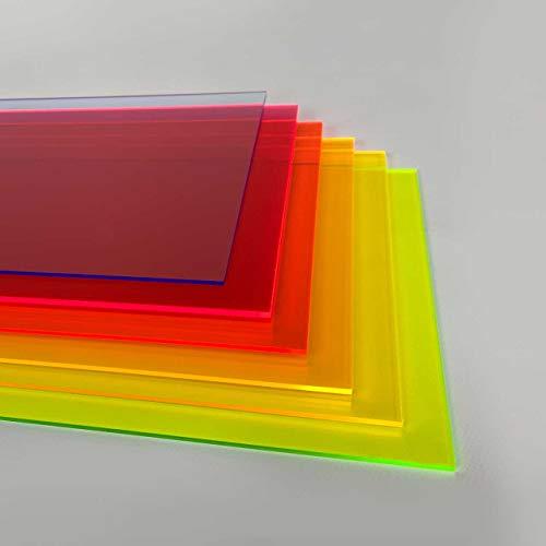 Hoja de plástico acrílico 3mm | PACK 6 unidades de colores fluor sin rotular A4 | Metacrilato fosforito translucido | Acabado perfecto |