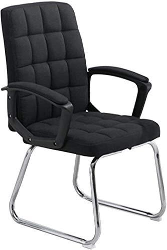 WY Silla de juegos de tela de gran tamaño con respaldo alto, ergonómica, para computadora, oficina, oficina, oficina, oficina, oficina, silla con cojinete, capacidad: 350 libras (color: negro)