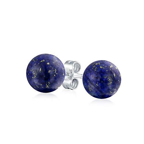 Azul Oscuro Lapislázuli Piedras Preciosa Pendiente Boton Bocírculo Redondo Mujer Y Para Hombres Plata Esterlina 925 10Mm