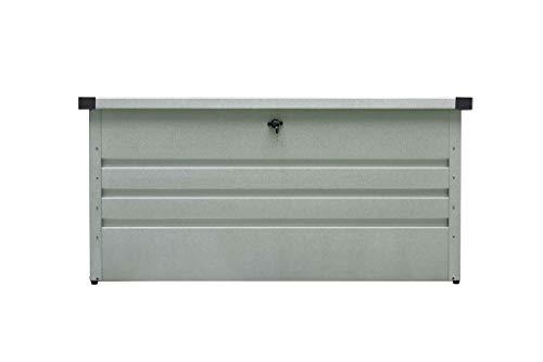 Westmann Metall Kissenbox Gartenbox Auflagenbox Aufbewahrungsbox 400 Liter Volumen Silber