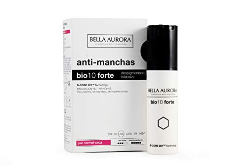 Bella Aurora Bio 10 Forte Crema Anti-Manchas Facial Piel Normal-Seca SPF 20, Anti-edad, Despigmentante Cara, 30 ml