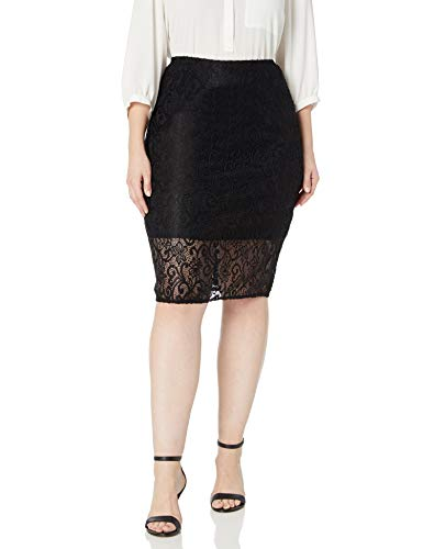 Star Vixen Women's Plus-Size Pencil Skirt with Short Lining, Black, 3X