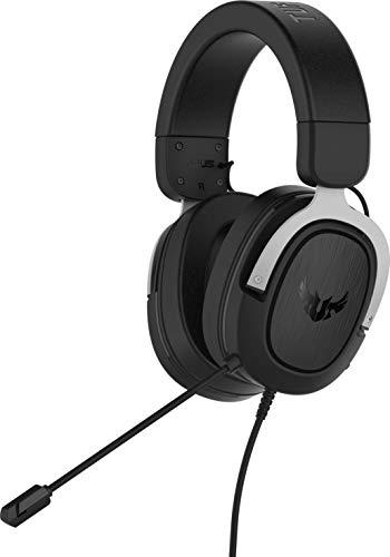 ASUS TUF Gaming H3 - Auriculares Compatibles con PC, Mac, PS4, Nintendo Switch, Xbox One y teléfonos móviles, con sonido envolvente 7.1, graves potentes, altavoces Asus Essence, Plata