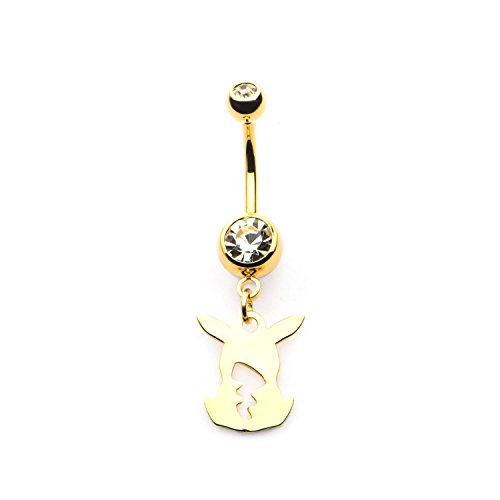 INOX Pokemon Pikachu Body & Tail Dangle Charm 14g 7/16 Gold PVD Plated Navel Ring