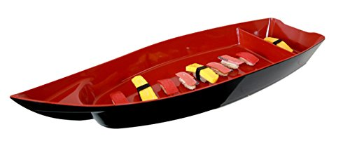 Ebros Gift Japanese Traditional Large 27.5' Long Red Plastic Lacquer Sushi Fishing Boat Serving Plate For Sushi Sashimi Rolls Serveware Dish Restaurant Supply Oriental Decor