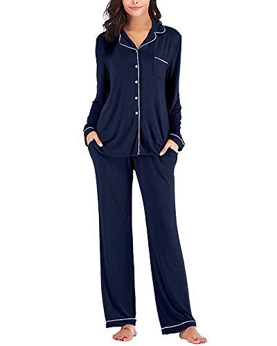 Mujer Pijamas Conjunto Dos Piezas Manga Larga Solapa Tops Y Pantalones Marina de Guerra L