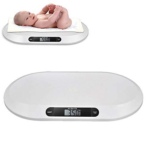 Oukaning Elektronische Smart-Babywaage mit großer Hintergrundbeleuchtung, LCD-Küchenwaage, 3 Modi, 20 kg